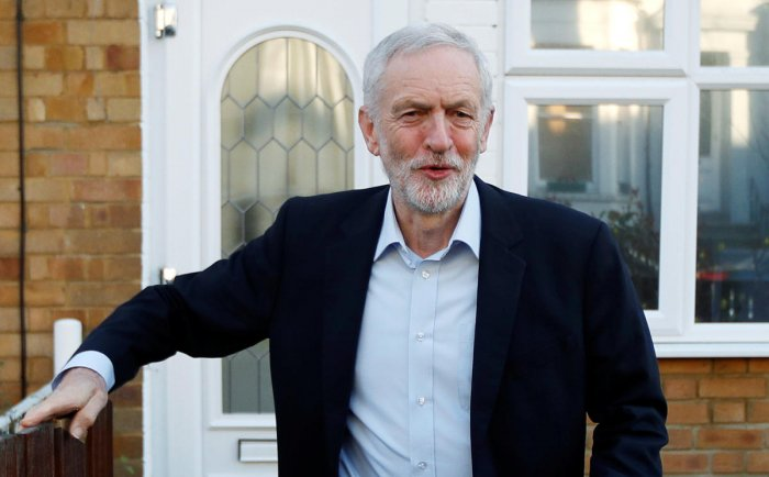 Jeremy Corbyn, leader of the Labour Party, leaves his home in London. (Reuters Photo)