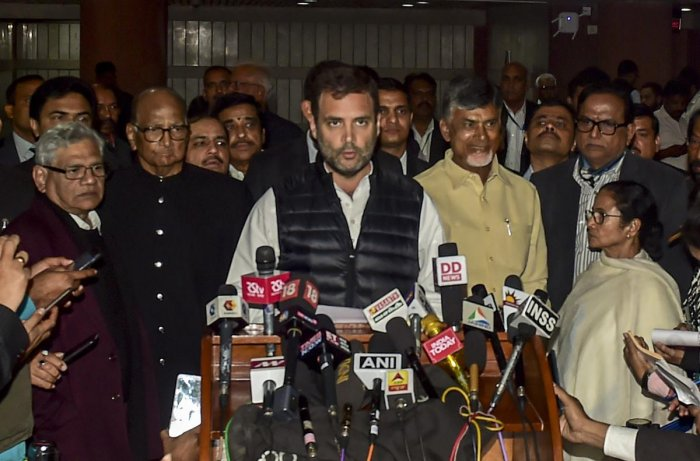 Congress President Rahul Gandhi reads a joint statement after the Opposition parties' meet at Parliament House complex, in New Delhi. (PTI Photo)