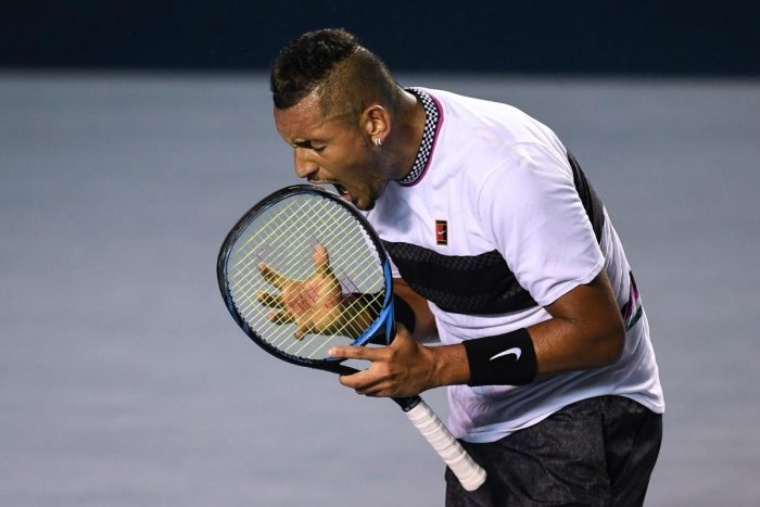 CHARGED UP Australia's Nick Kyrgios celebrates a point during his three-set win over Spain's Rafael Nadal at the Mexico Open. AFP