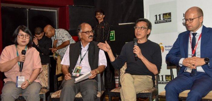 (From Left) Chen Rui Rui (screenwriter), The Rib (China), Artistic Director for the BIFFes , Derek Chin, Director (No. 1 Chung Ying Street), (Hong Kong), Damian Irzyk, Consul General of Poland in Bangalore, Dana Krush, Consul General of Israel in Bangalor