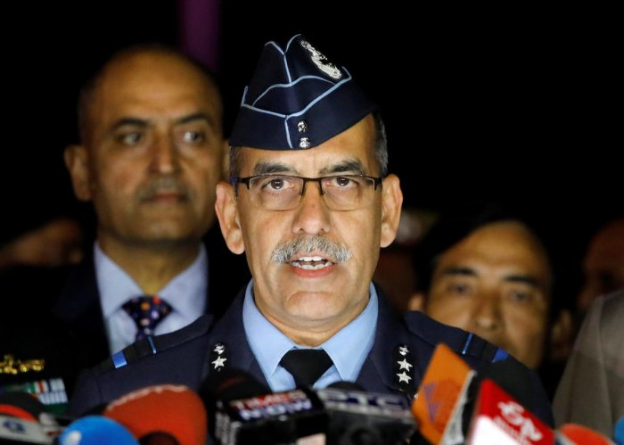 India's Air Vice-Marshal R.G.K Kapoor speaks to the media in the lawns of India's Defence Ministry in New Delhi. Reuters photo