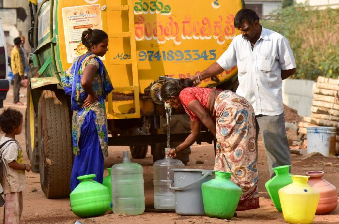 Several areas in Bengaluru depend on private water tankers for their everyday needs. PHOTO B H SHIVAKUMAR