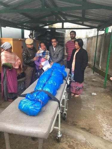 Photo: Second body pulled out of the flooded mine handed over to the victim's family on Friday. Photo credit: East Jaintia Hills district administration, Meghalaya