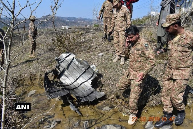File picture of cross section of F16 engine and wreckage of downed Pakistani F16 jet. ANI