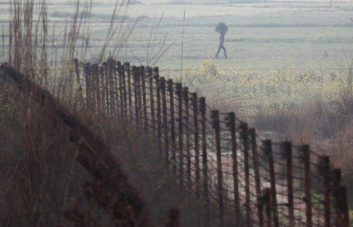A farmer carries a sack of grass as he walks near the fenced border between India-Pakistan in Ranbir Singh Pura sector near Jammu March 1, 2019. REUTERS/Adnan Abidi