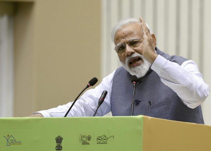 New Delhi: Prime Minister Narendra Modi addresses Construction Technology India 2019 on 'Global Housing Technology Challenge', in New Delhi on Saturday. (PTI Photo)