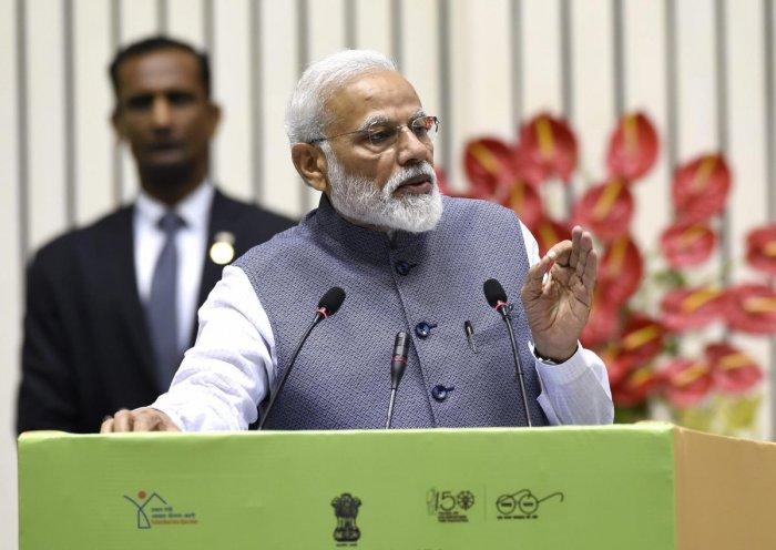 Prime Minister Narendra Modi addresses Construction Technology India 2019 on 'Global Housing Technology Challenge', in New Delhi on Saturday. (PTI Photo)