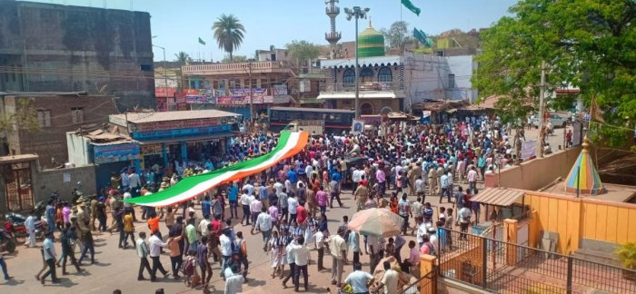A protest rally was taken out in Ramdurg town, Belagavi district, demanding action against those who posted pro-Pakistan posts on social media. dh photo