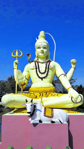 The statue which will be unveiled during the inauguration of the renovated Hallada Rameshwara Temple.