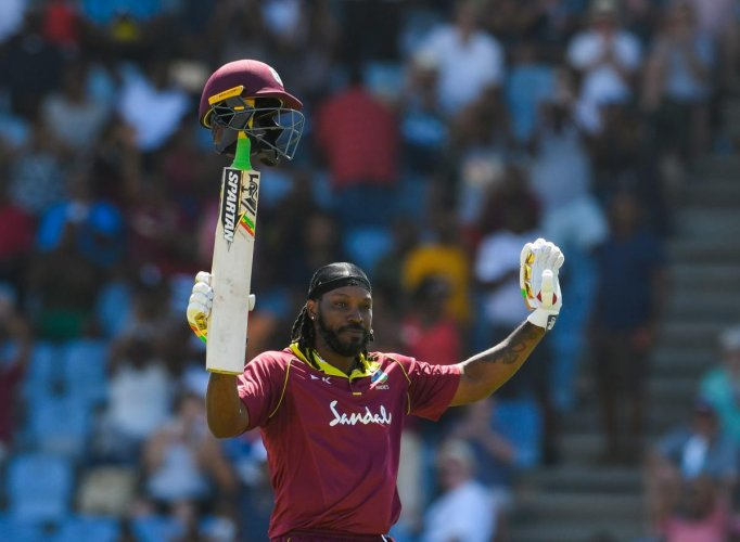 NO STOPPING HIM: Chris Gayle of West Indies slammed a 27-ball 77 against England in the fifth and final ODI. AFP