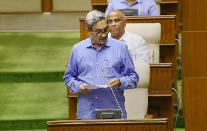 File photo of Goa Chief Minister Manohar Parrikar presenting the state budget in the Legislative Assembly, in Panaji. (PTI)