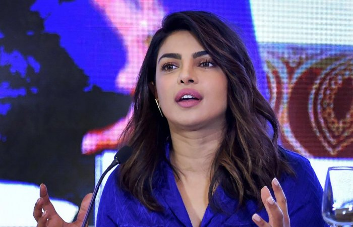 New Delhi: Bollywood actor Priyanka Chopra speaks on the importance of child education in rural India during a UNICEF forum event in New Delhi, on Wednesday. PTI Photo by Arun Sharma(PTI4_11_2018_000086B)