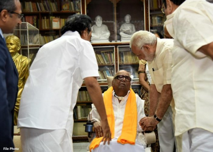 Modi, who called on Karunanidhi in November last year at his residence in Chennai, extended his greetings on social networking site Twitter and shared an image of his meeting with the DMK veteran. Image courtesy Twitter