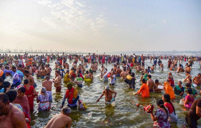 The Kumbh Mela, one of the largest religious gatherings in the world, held in Uttar Pradesh's Allahabad from January 15 on Makar Sankranti to March 4 this year. (PTI File Photo)