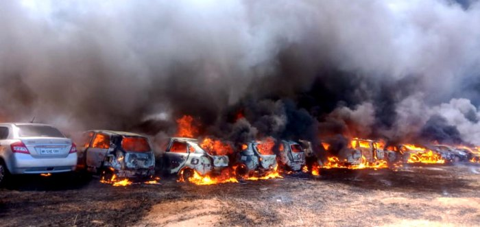 Hundreds of swanky cars parked at Aero India 2019 --Asia's largest biennial aero show were completely gutted due to major fire mishap that broke out in the parking lot on Saturday inside the Yelahanka Air Base on Ballari Road.
