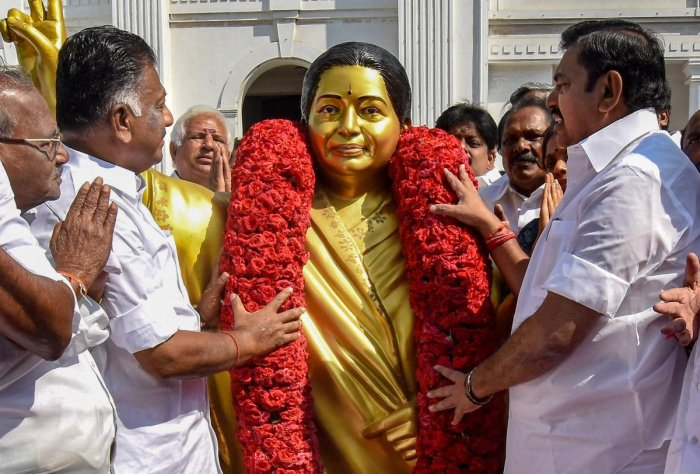 Just a little over two years after her death in the winter of 2016, Jayalalithaa's AIADMK has seen much decline, having lost its sheen in the public and bargaining power at the Centre. PTI file photo