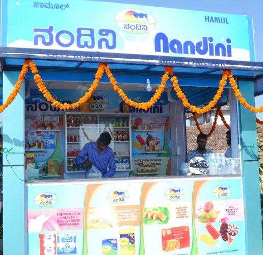 The Nandini outlet of HAMUL opened at the district hospital in Madikeri.