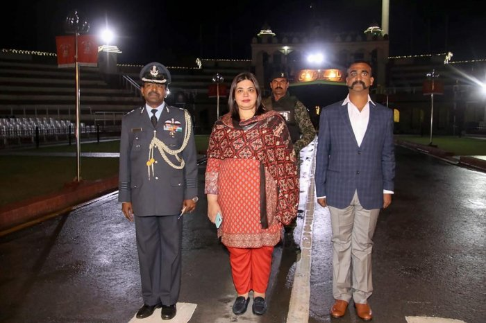 Wagah: Indian Air Force (IAF) pilot Wing Commander Abhinandan Varthaman as he is released by Pakistan authorities at Wagah border on the Pakistani side, Friday, March 1, 2019. Varthaman, who was captured by Pakistan after his jet went down following a str