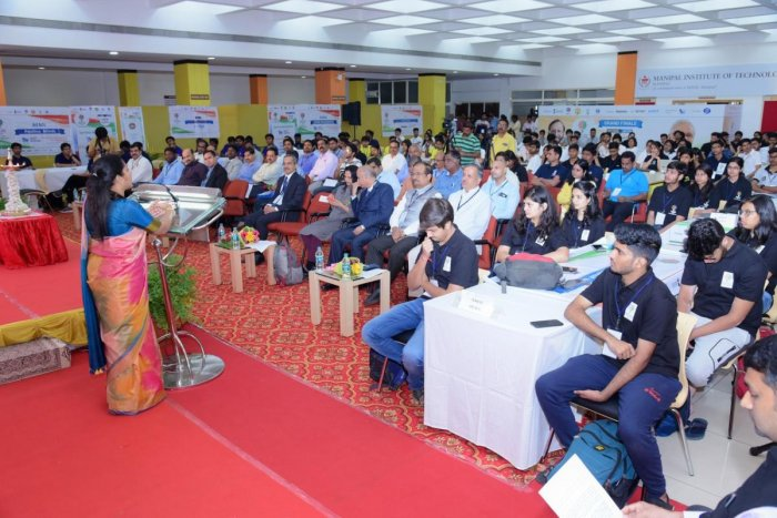 Deputy Commissioner Hephsiba Rani Korlapati speaks at the third Smart India Hackathon held at Manipal Institute of Technology in Manipal on Saturday.