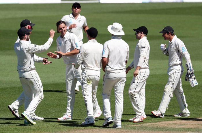 New Zealand celebrate the wicket of Liton Das of Bangladesh during day four of the first cricket Test match between New Zealand and Bangladesh at Seddon Park in Hamilton. (AFP Photo)