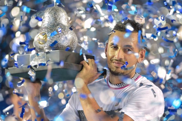 RED-HOT: Australia's Nick Kyrgios with the Mexico Open trophy after defeating Germany's Alexander Zverev in the final on Sunday. AFP