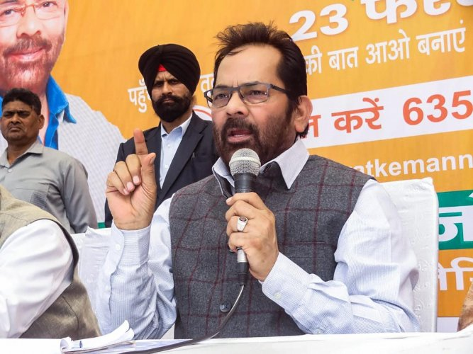 "Taking a dig at the opposition party, BJP leader and Union minister Mukhtar Abbas Naqvi said Congress and its allies are ""crying"" while terrorists and their sponsors are being hit. (PTI File Photo)"