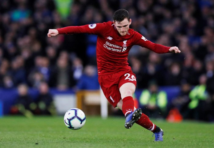 OPTIMISTIC: Liverpool's Andrew Robertson said his side will fight till the final game of the Premier League after squandering their top spot on table. Reuters