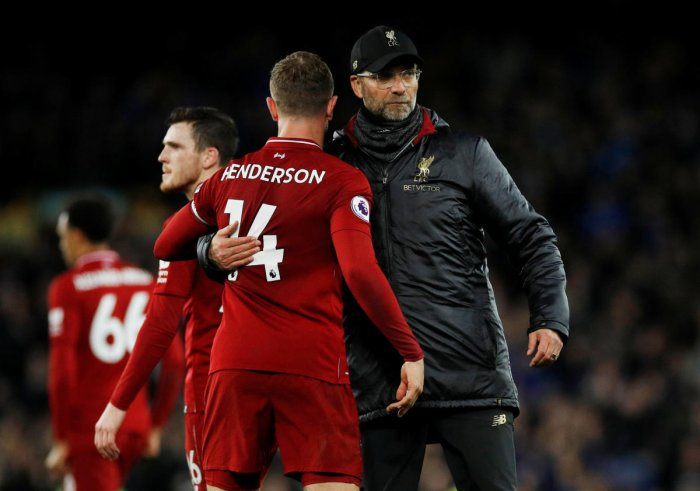 Liverpool manager Juergen Klopp and Liverpool's Jordan Henderson after the match. Reuters