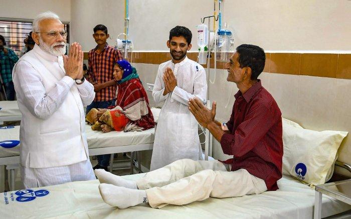 Prime Minister Narendra Modi after he inaugurated a new building of the Guru Gobind Singh Hospital, in Jamnagar, Gujarat on Monday. PIB/ PTI
