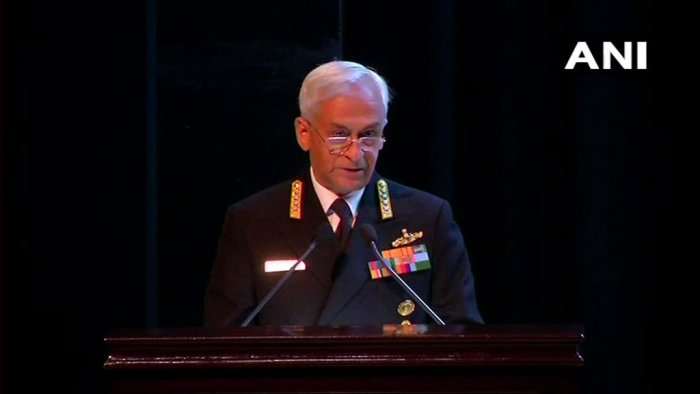 """The Pulwama attack was perpetrated by extremists and """"aided by a State"""" that seeks to destabilise India, Navy chief Admiral Sunil Lanba said on Tuesday. ANI photo"""