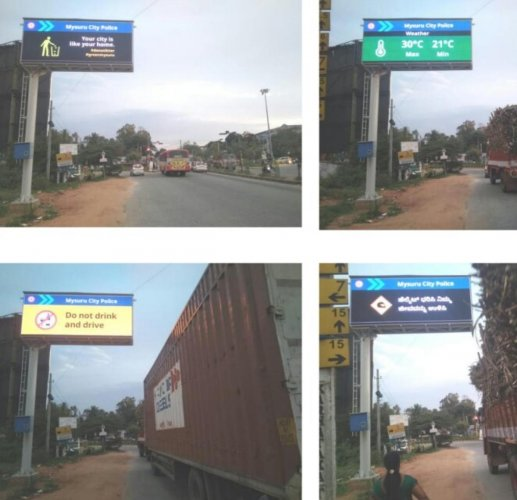 Smart Variable Messaging Systems installed by the Mysuru Police in September 2018. DH FILE photo