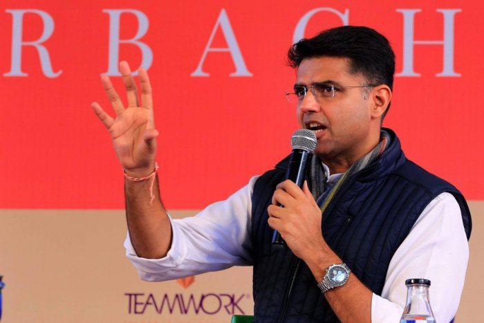 Rajasthan Deputy Chief Minister Sachin Pilot speaks during a session at the Jaipur Literature Festival 2019, at Diggi Palace in Jaipur on Thursday. PTI