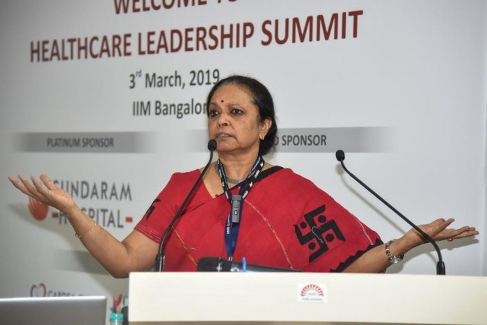 K Sujatha Rao, former Union health secretary, at the IIM Bangalore on Sunday. DH Photo/S K Dinesh