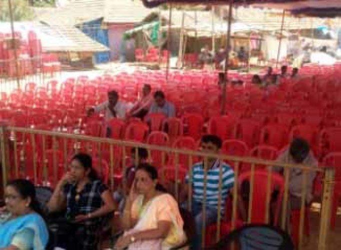 Empty chairs dominating the scene during Veerarani Abbakka Utsava held in Ullal.