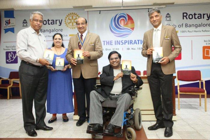 (From left) PDG rotarian Prabhashankar K N, PP rotarian Purnimaa Ranganath, president rotarian Vivek Prabhu, author Niranjan Nerlige and secretary rotarian Musten Jiruwala at the book launch.