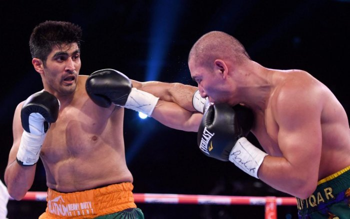 Vijender (left). File photo