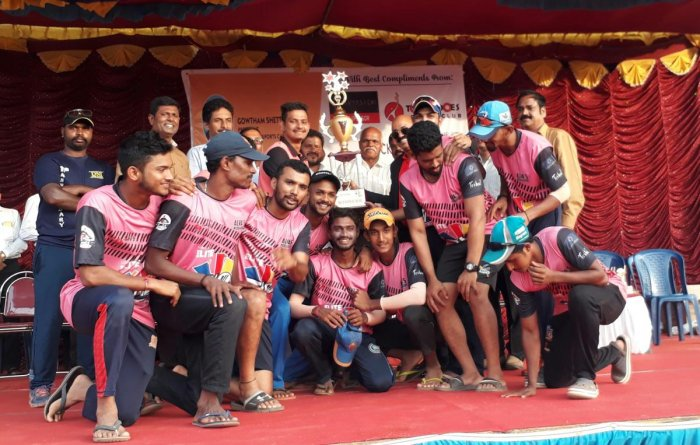 Members of the Alva's Moodbidri team rejoice after defeating the DNI Home Theater team by 110 runs and winning the prestigious Torpedoes T10 Bash Elite National Cricket Championship at NMPT grounds, Mangaluru.