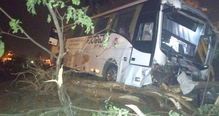 KSRTC Iravata bus which met with an accident on the Nelamangala-Kunigan highway on Monday night. Acouple and their three children were killed in the accident.