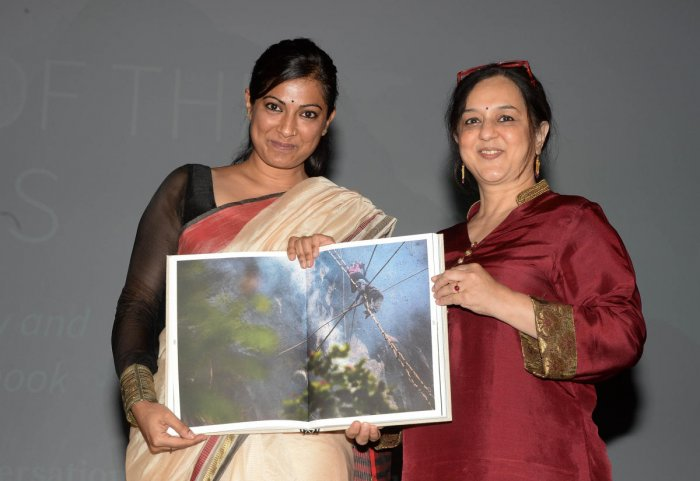 Ramya Reddy (left) and Rohini Nilekani at Bangalore International Centre on Tuesday. Ramya says research was the most difficult part of writing the book.
