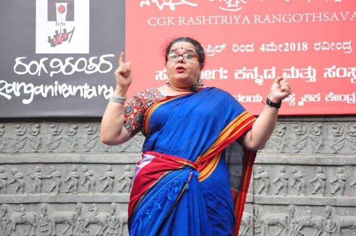 Shailaja Sampath at a story-telling session in the city.