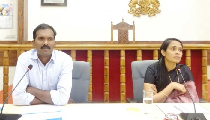 Deputy Commissioner Annies Kanmani Joy speaks at a meeting at her office in Madikeri on Wednesday. Additional Deputy Commissioner Y Yogish looks on.
