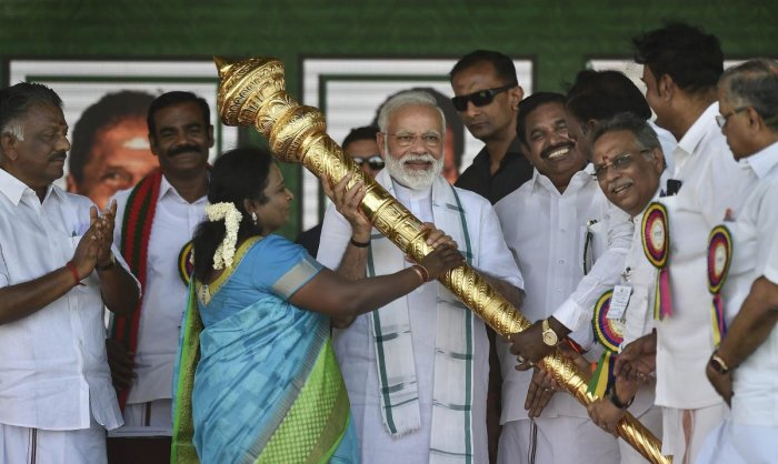 Prime Minister Narendra Modi is felicitated during a public rally of the BJP-AIADMK-PMK alliance, in Chennai. PTI