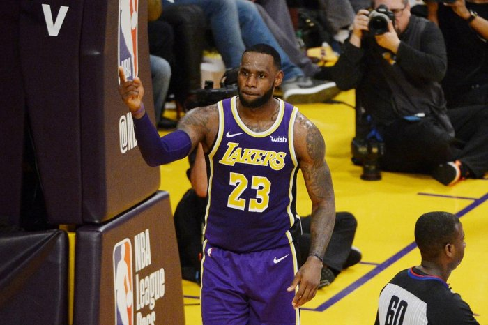 LEGENDARY: LeBron James of the Los Angeles Lakers celebrates after passing Michael Jordan and moving to fourth on the NBA's all-time scoring list. AFP