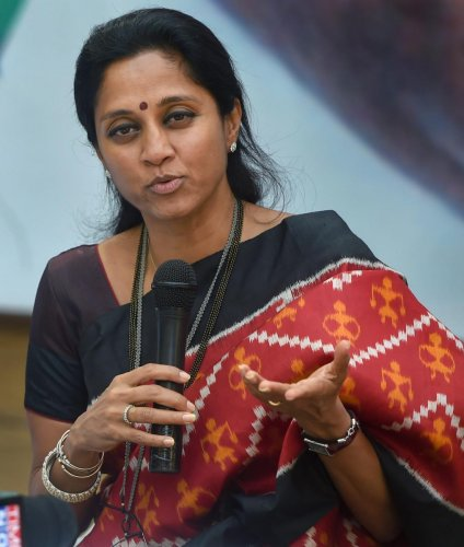 Nationalist Congress Party MP Supriya Sule during a press conference in Mumbai. PTI