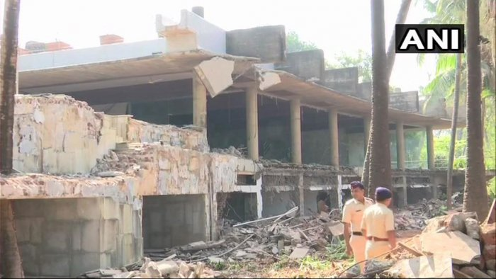 The luxurious bungalow of fugitive diamond merchant and businessman Nirav Modi in the coastal Raigad district was brought down by controlled explosions on Friday. ( Image courtesy ANI)