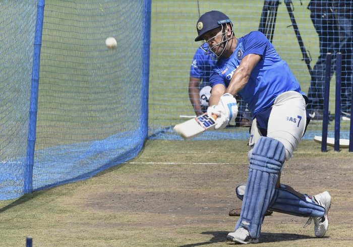 M S Dhoni during India's training session on the eve of the third ODI match against Australia at JSCA Stadium, in Ranchi, on Thursday. PTI