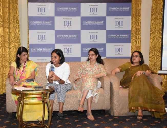 (L-R) Chitra Hariharan, Swapna Gupta, Madhavi Rao and Poornima Shenoy at the 'Women in Tech' panel discussion with Deccan Herald recently.