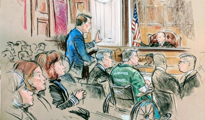 Former Trump campaign manager Paul Manafort appears for sentencing in this court sketch in U.S. District Court in Alexandria, Virginia. (Reuters Photo)