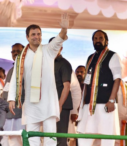 Congress President Rahul Gandhi addresses a public meeting at Chevella constituency near Hyderabad, Saturday, March 9, 2019. (PTI Photo)