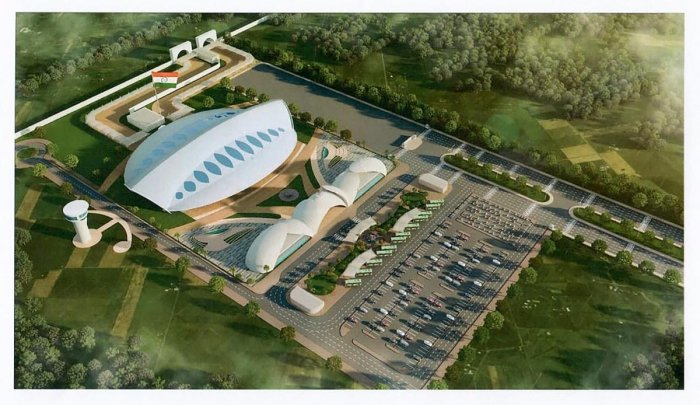 An architecture design of the Passenger Terminal Building, approved by Ministry of Home Affairs, to be constructed for the Kartarpur corridor, in Gurdaspur, Saturday, March 9, 2019. (PTI Photo)